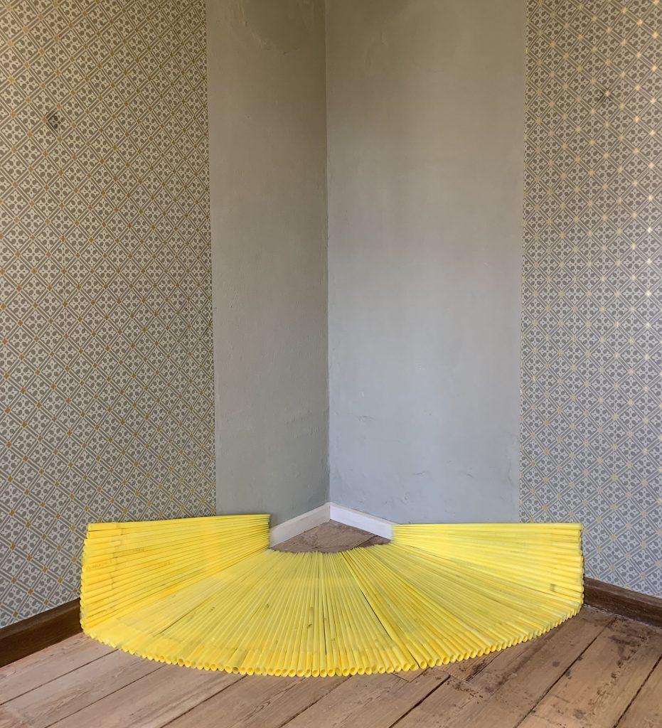 Yellow corner, industrial bags, 160x100 cm, Museum of Art Malchow, 2020, Sophia Solaris