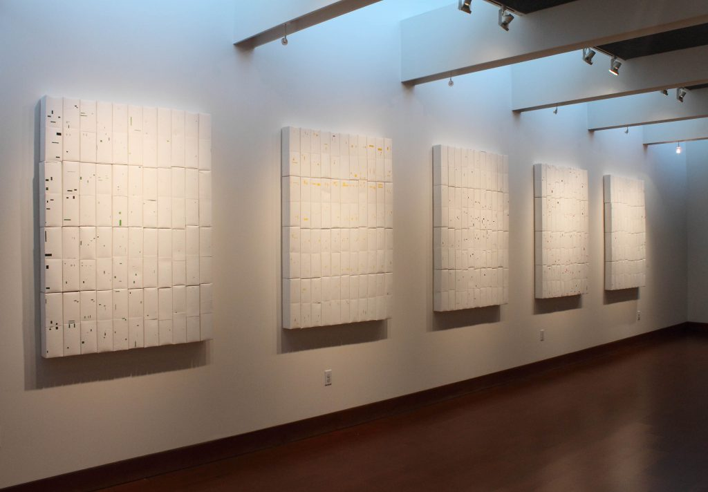 High 5, milk/juice cartons, peeled, ea. 160x200 cm, Cambridge Galleries Preston, Canada, Sophia Solaris