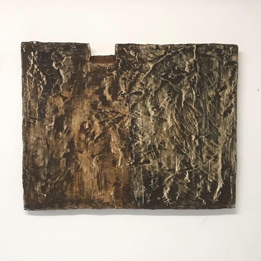 Notch, plaster, natural materials, 100x85x10 cm, 2019, Sophia Solaris