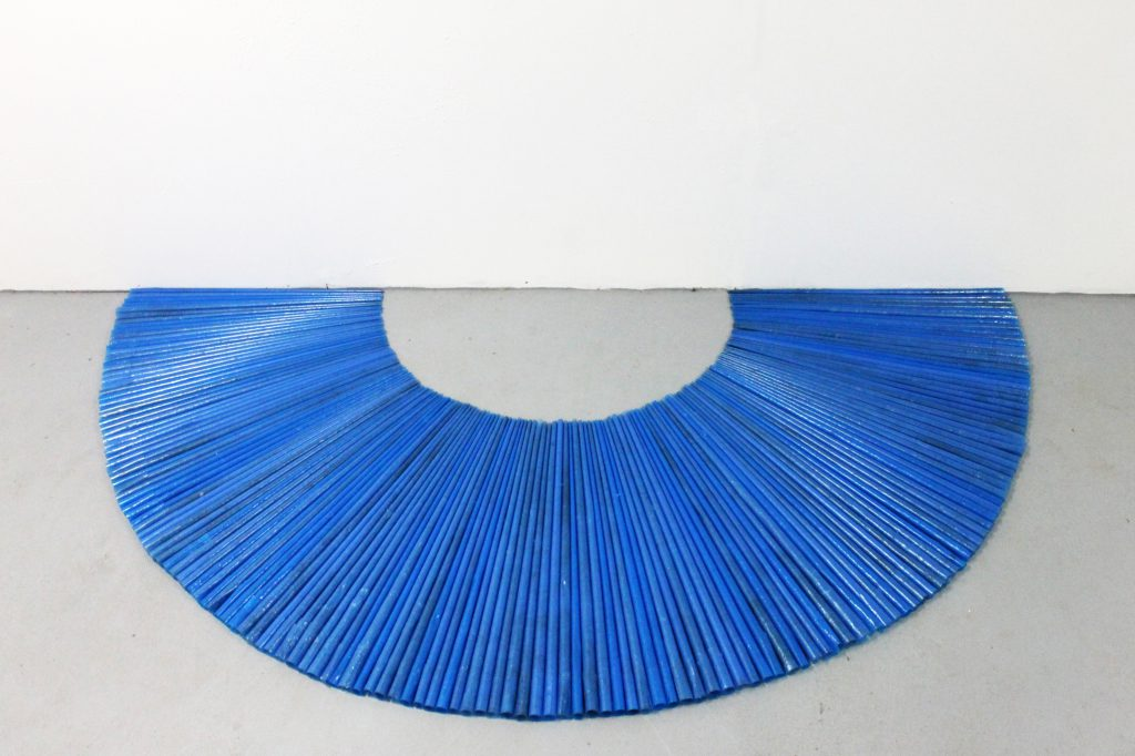 Blue Crown, 100x180 cm, recycled industrial plastic bags, 2012 Sophia Solaris