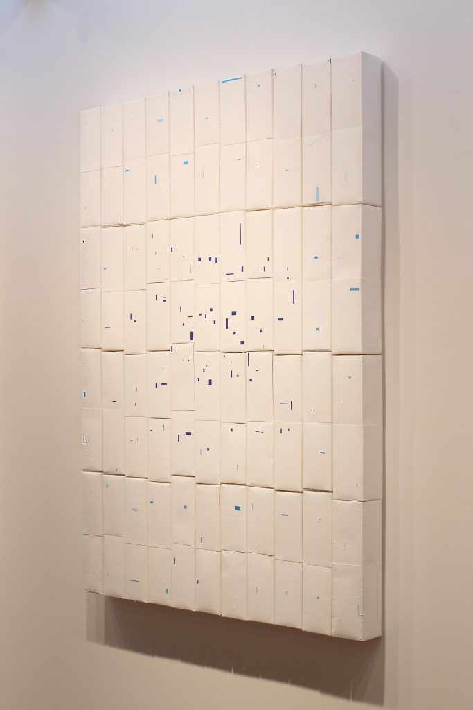 Detail High 5, milk/juice cartons, peeled, 160x200 cm, Cambridge Galleries Preston, Canada, Sophia Solaris