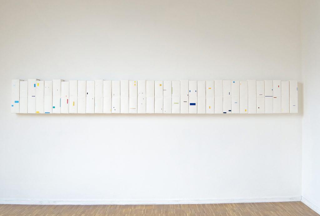 Milk cartons, 25x300 cm, 2011, Sophia Solaris