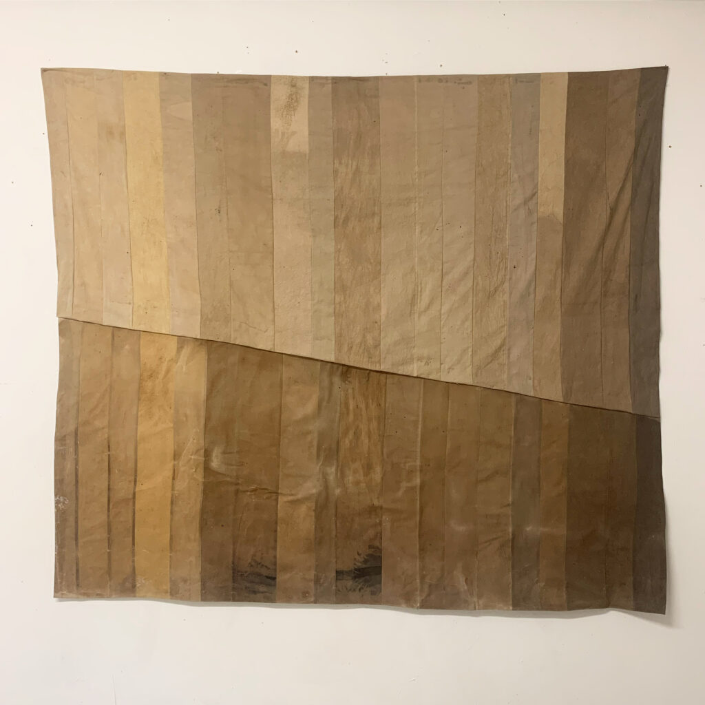 Downhill, naturally dyed linen, wax, 180x110 cm, 2020
