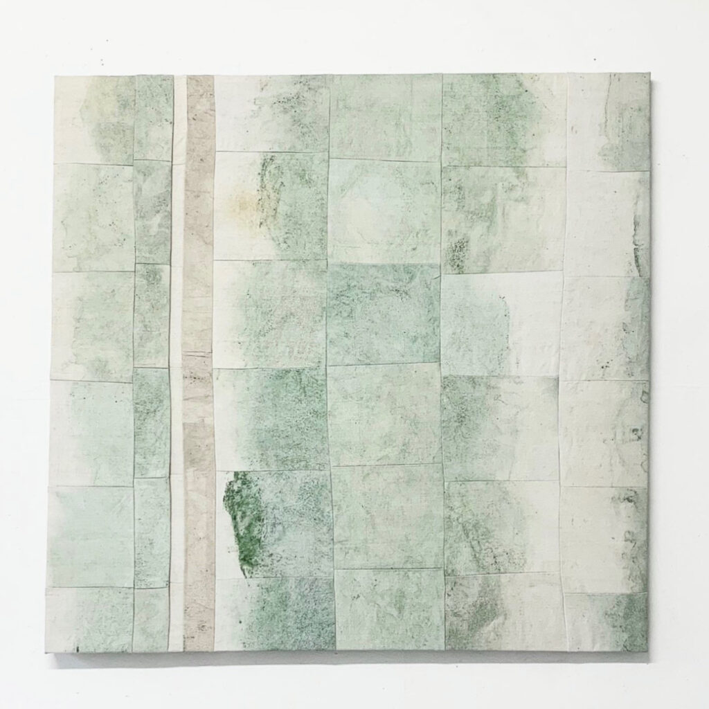 Riverbed, naturally dyed linen, 110x115 cm, 2021