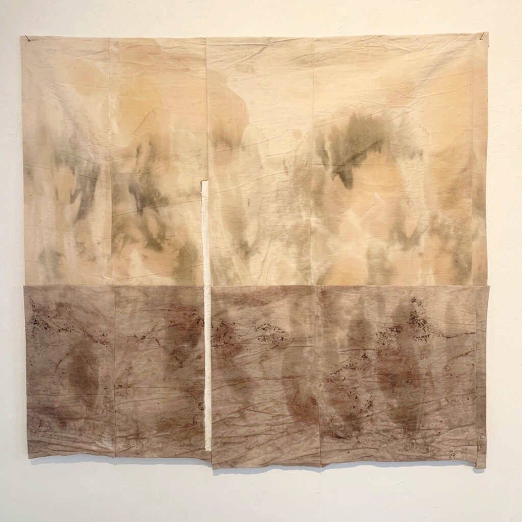 White secret, naturally dyed linen, natural pigment, 90x70 cm, 2020