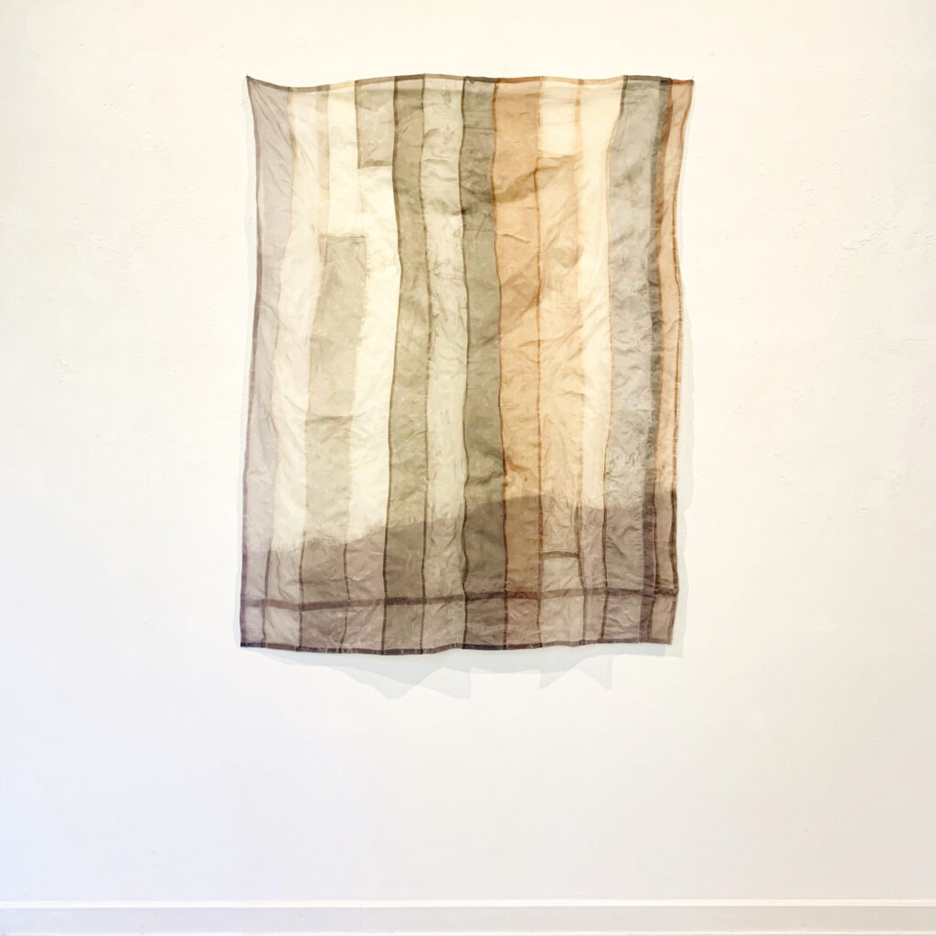 Flowerbed - organized, naturally dyed silk, beeswax, 120x100 cm, 2020 sophia solaris
